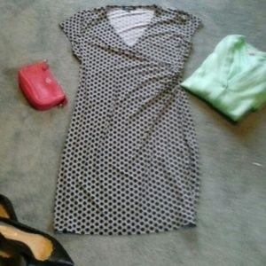 Geometric B&W Faux Wrap Dress L